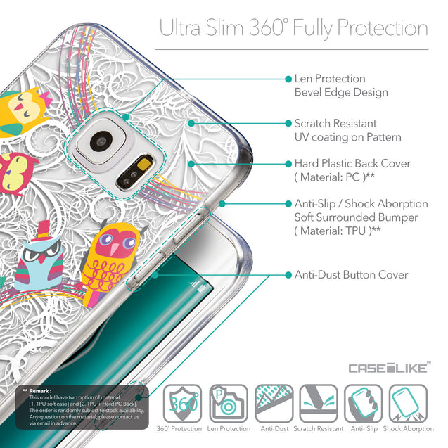 Details in English - CASEiLIKE Samsung Galaxy S6 Edge Plus back cover Owl Graphic Design 3316