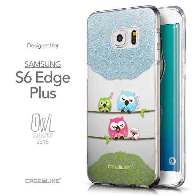 Front & Side View - CASEiLIKE Samsung Galaxy S6 Edge Plus back cover Owl Graphic Design 3318