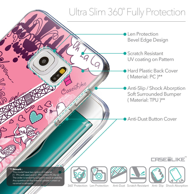 Details in English - CASEiLIKE Samsung Galaxy S6 Edge Plus back cover Paris Holiday 3905