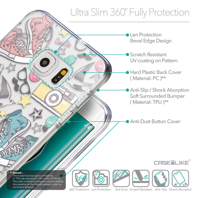Details in English - CASEiLIKE Samsung Galaxy S6 Edge Plus back cover Paris Holiday 3906