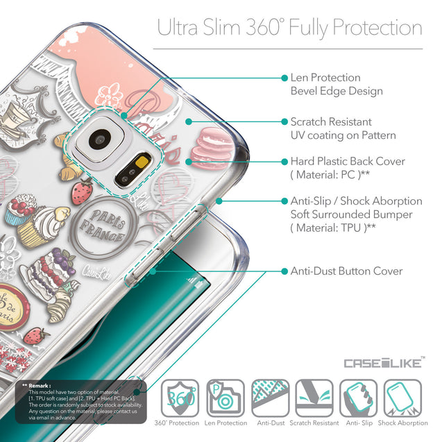 Details in English - CASEiLIKE Samsung Galaxy S6 Edge Plus back cover Paris Holiday 3907