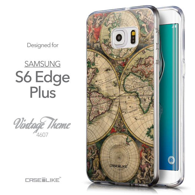 Front & Side View - CASEiLIKE Samsung Galaxy S6 Edge Plus back cover World Map Vintage 4607