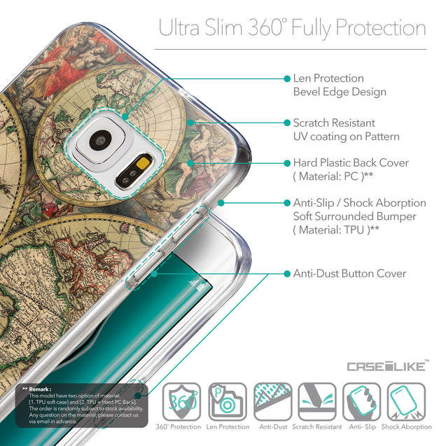 Details in English - CASEiLIKE Samsung Galaxy S6 Edge Plus back cover World Map Vintage 4607