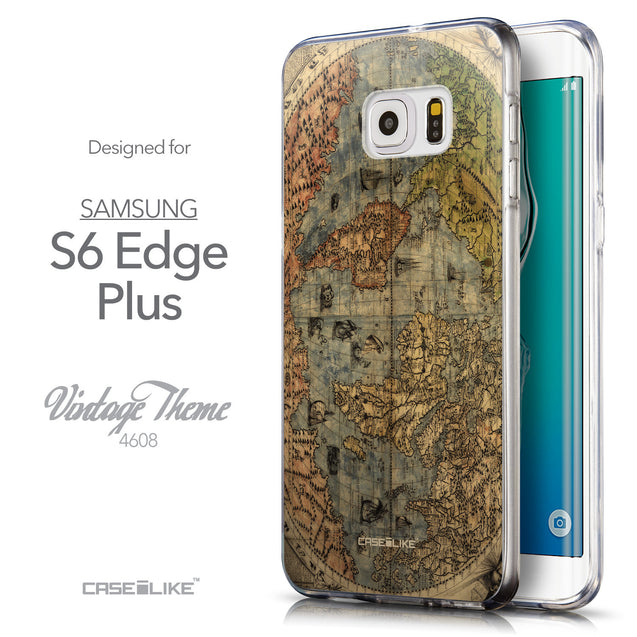 Front & Side View - CASEiLIKE Samsung Galaxy S6 Edge Plus back cover World Map Vintage 4608