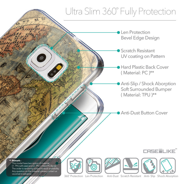 Details in English - CASEiLIKE Samsung Galaxy S6 Edge Plus back cover World Map Vintage 4608