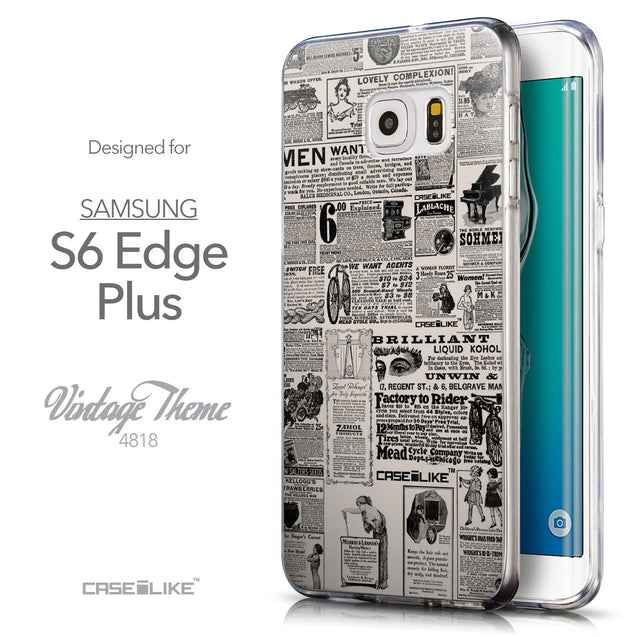 Front & Side View - CASEiLIKE Samsung Galaxy S6 Edge Plus back cover Vintage Newspaper Advertising 4818