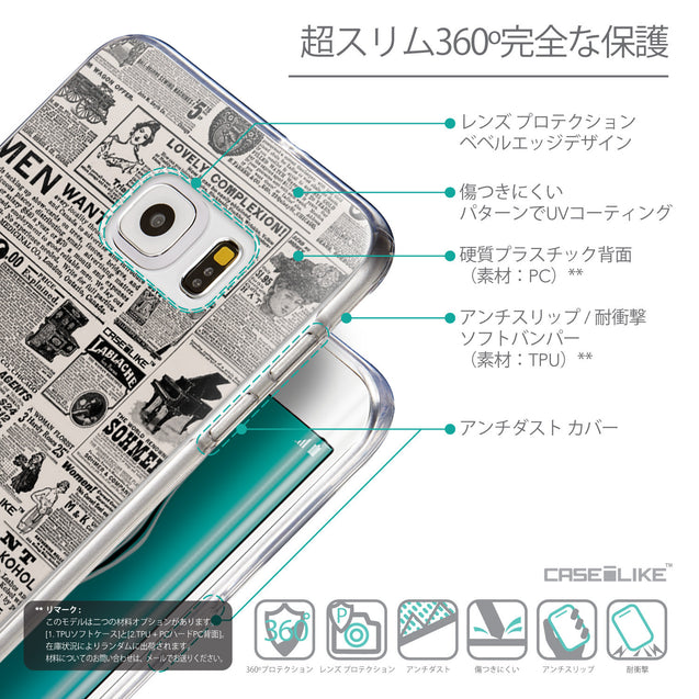 Details in Japanese - CASEiLIKE Samsung Galaxy S6 Edge Plus back cover Vintage Newspaper Advertising 4818