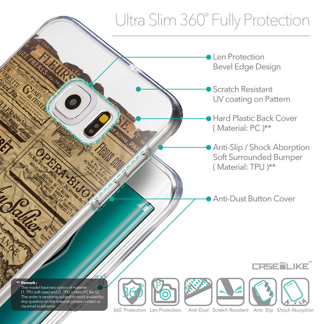 Details in English - CASEiLIKE Samsung Galaxy S6 Edge Plus back cover Vintage Newspaper Advertising 4819