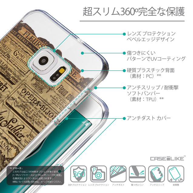 Details in Japanese - CASEiLIKE Samsung Galaxy S6 Edge Plus back cover Vintage Newspaper Advertising 4819