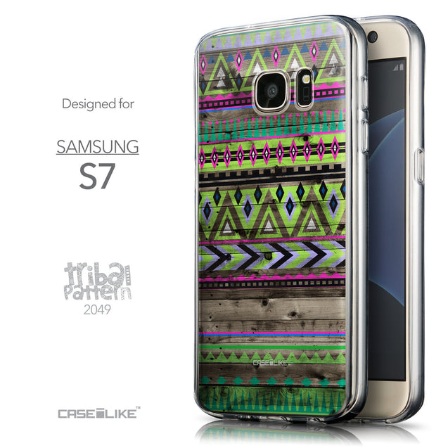 Front & Side View - CASEiLIKE Samsung Galaxy S7 back cover Indian Tribal Theme Pattern 2049