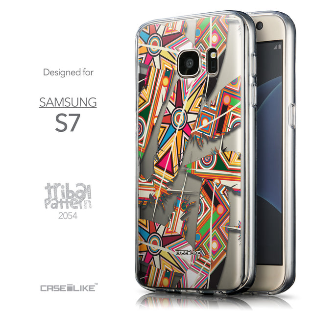 Front & Side View - CASEiLIKE Samsung Galaxy S7 back cover Indian Tribal Theme Pattern 2054