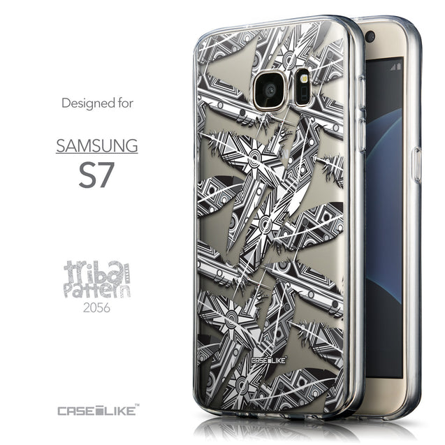 Front & Side View - CASEiLIKE Samsung Galaxy S7 back cover Indian Tribal Theme Pattern 2056