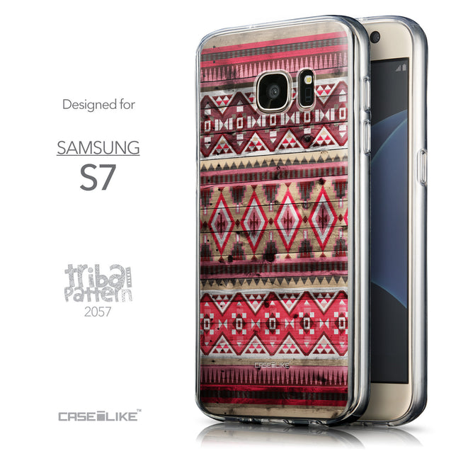 Front & Side View - CASEiLIKE Samsung Galaxy S7 back cover Indian Tribal Theme Pattern 2057