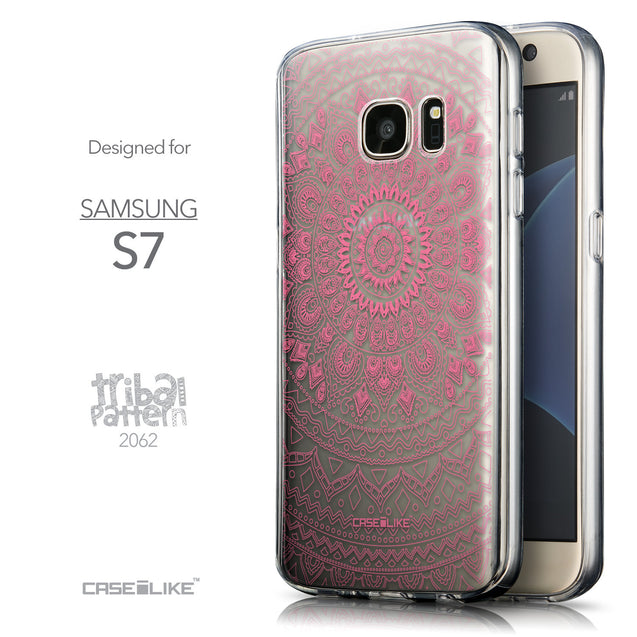 Front & Side View - CASEiLIKE Samsung Galaxy S7 back cover Indian Line Art 2062