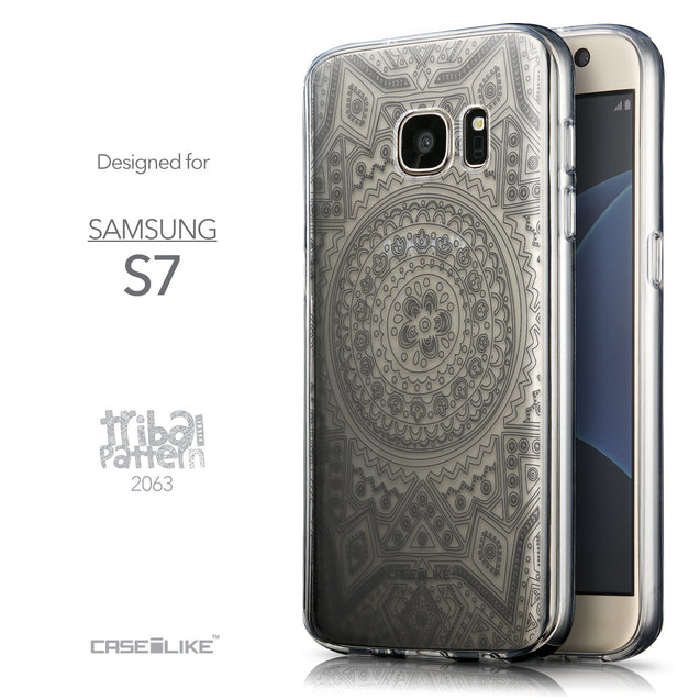 Front & Side View - CASEiLIKE Samsung Galaxy S7 back cover Indian Line Art 2063