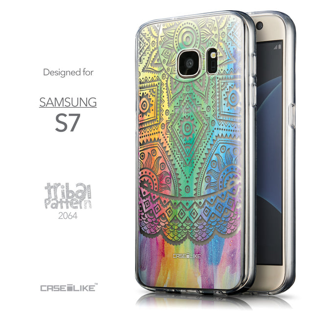 Front & Side View - CASEiLIKE Samsung Galaxy S7 back cover Indian Line Art 2064