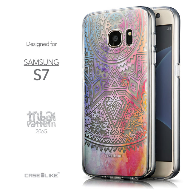 Front & Side View - CASEiLIKE Samsung Galaxy S7 back cover Indian Line Art 2065