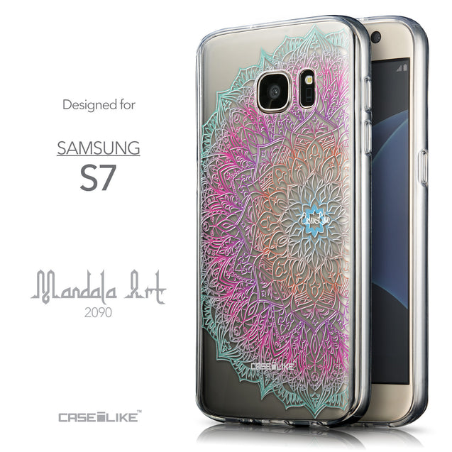 Front & Side View - CASEiLIKE Samsung Galaxy S7 back cover Mandala Art 2090