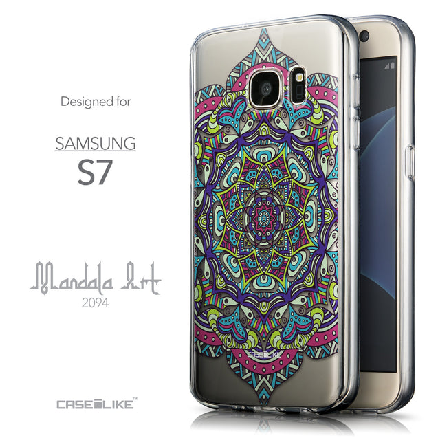 Front & Side View - CASEiLIKE Samsung Galaxy S7 back cover Mandala Art 2094