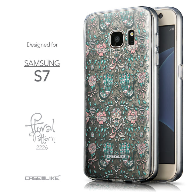 Front & Side View - CASEiLIKE Samsung Galaxy S7 back cover Roses Ornamental Skulls Peacocks 2226