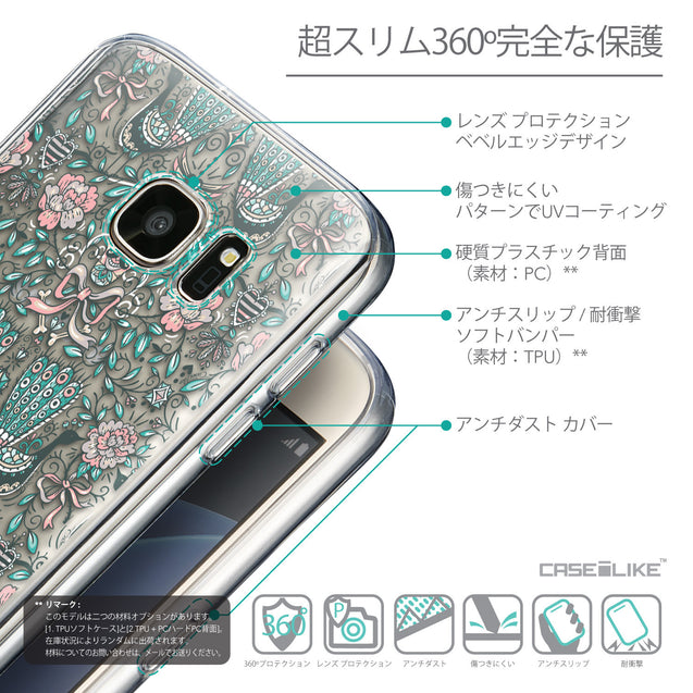Details in Japanese - CASEiLIKE Samsung Galaxy S7 back cover Roses Ornamental Skulls Peacocks 2226