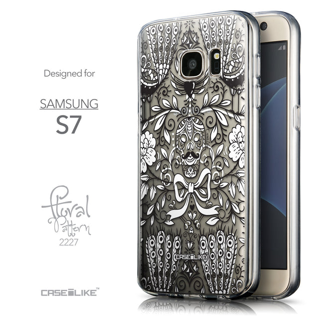 Front & Side View - CASEiLIKE Samsung Galaxy S7 back cover Roses Ornamental Skulls Peacocks 2227