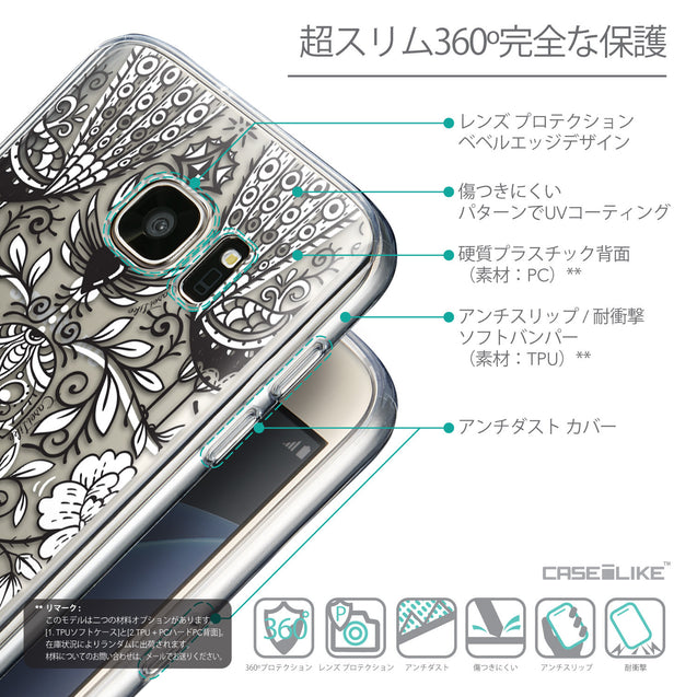 Details in Japanese - CASEiLIKE Samsung Galaxy S7 back cover Roses Ornamental Skulls Peacocks 2227