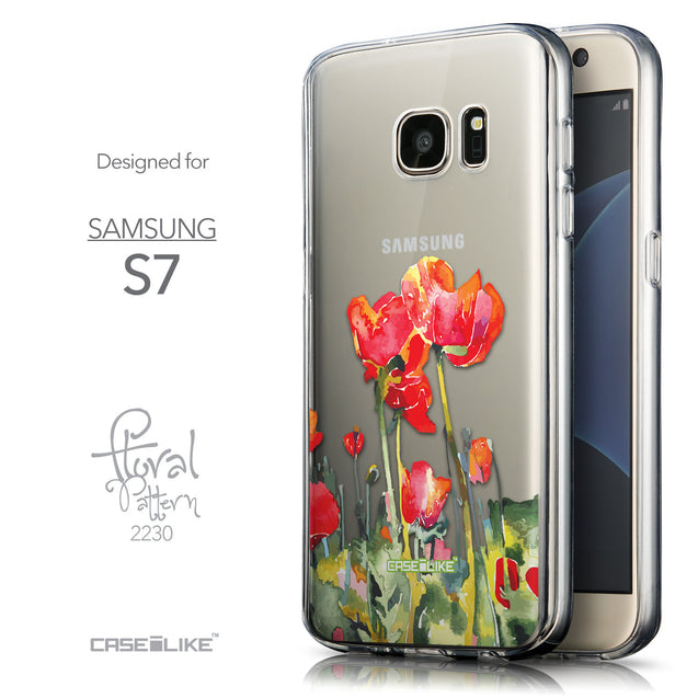 Front & Side View - CASEiLIKE Samsung Galaxy S7 back cover Watercolor Floral 2230