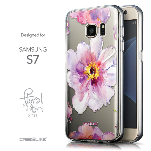 Front & Side View - CASEiLIKE Samsung Galaxy S7 back cover Watercolor Floral 2231