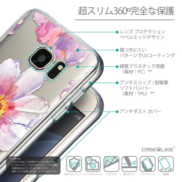 Details in Japanese - CASEiLIKE Samsung Galaxy S7 back cover Watercolor Floral 2231