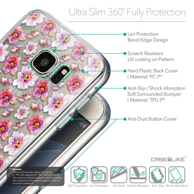 Details in English - CASEiLIKE Samsung Galaxy S7 back cover Watercolor Floral 2232