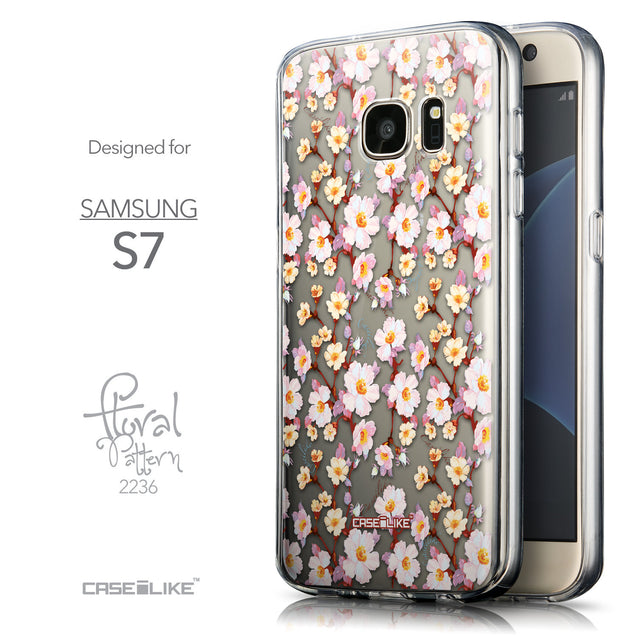 Front & Side View - CASEiLIKE Samsung Galaxy S7 back cover Watercolor Floral 2236