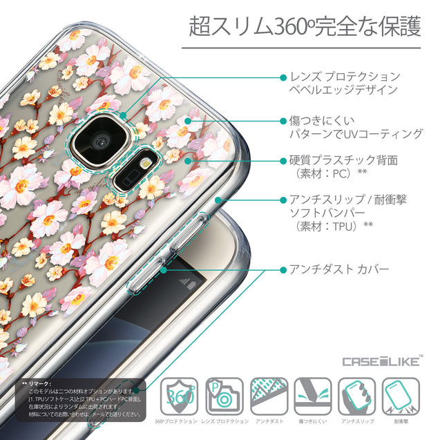 Details in Japanese - CASEiLIKE Samsung Galaxy S7 back cover Watercolor Floral 2236