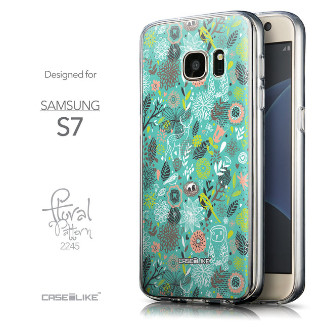Front & Side View - CASEiLIKE Samsung Galaxy S7 back cover Spring Forest Turquoise 2245