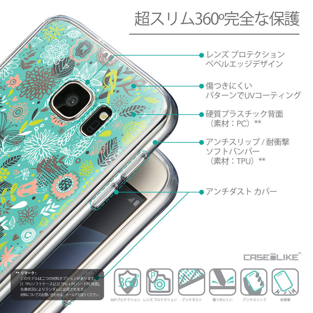 Details in Japanese - CASEiLIKE Samsung Galaxy S7 back cover Spring Forest Turquoise 2245