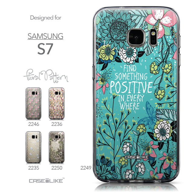 Collection - CASEiLIKE Samsung Galaxy S7 back cover Blooming Flowers Turquoise 2249