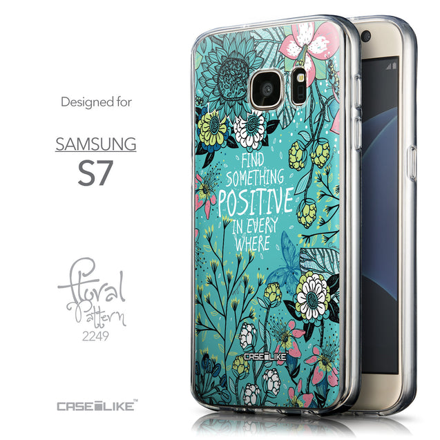Front & Side View - CASEiLIKE Samsung Galaxy S7 back cover Blooming Flowers Turquoise 2249