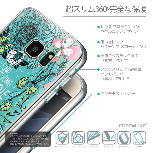 Details in Japanese - CASEiLIKE Samsung Galaxy S7 back cover Blooming Flowers Turquoise 2249