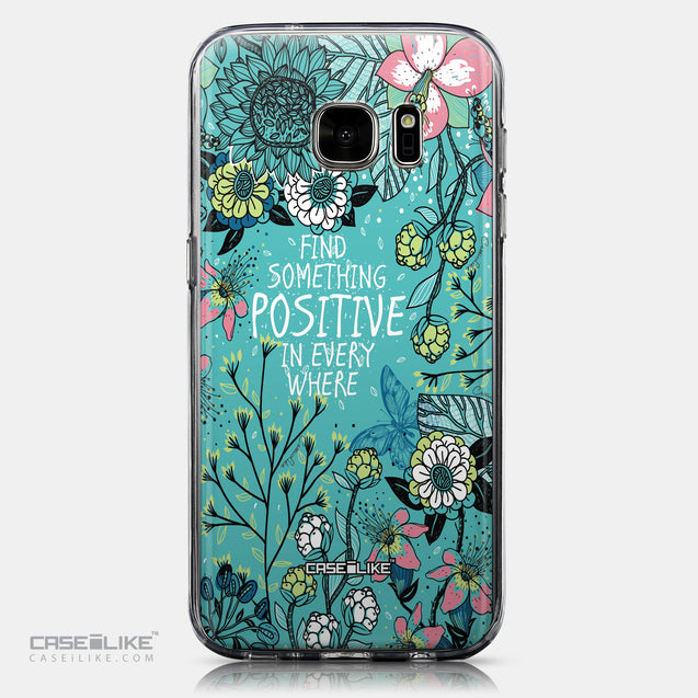 CASEiLIKE Samsung Galaxy S7 back cover Blooming Flowers Turquoise 2249