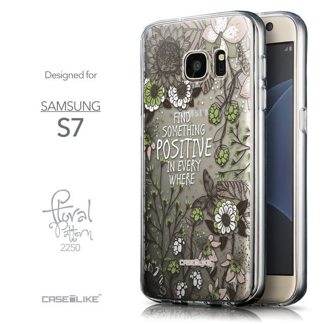 Front & Side View - CASEiLIKE Samsung Galaxy S7 back cover Blooming Flowers 2250