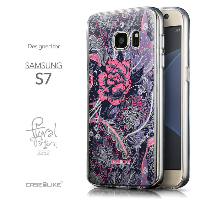 Front & Side View - CASEiLIKE Samsung Galaxy S7 back cover Vintage Roses and Feathers Blue 2252