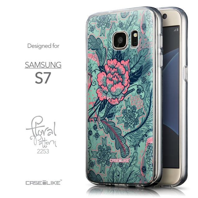 Front & Side View - CASEiLIKE Samsung Galaxy S7 back cover Vintage Roses and Feathers Turquoise 2253