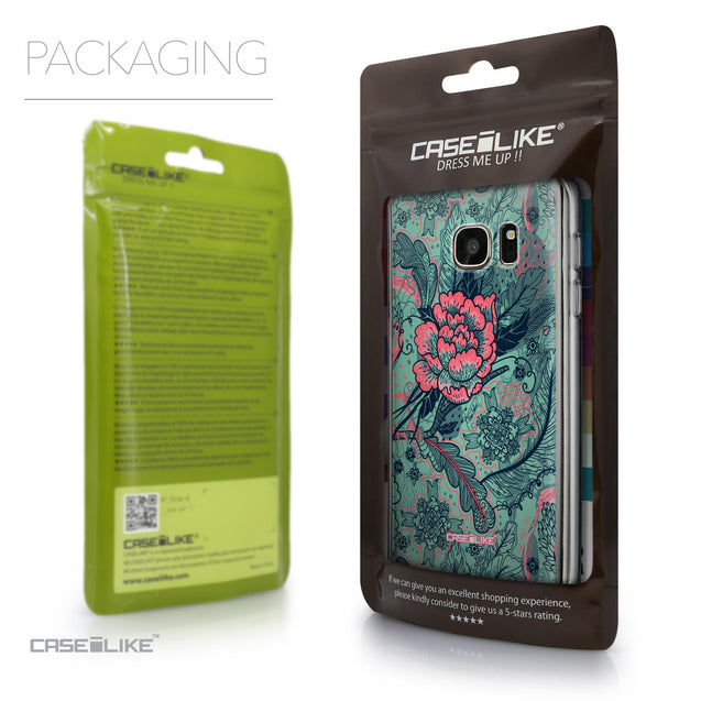 Packaging - CASEiLIKE Samsung Galaxy S7 back cover Vintage Roses and Feathers Turquoise 2253