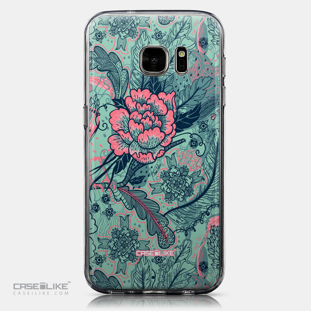 CASEiLIKE Samsung Galaxy S7 back cover Vintage Roses and Feathers Turquoise 2253