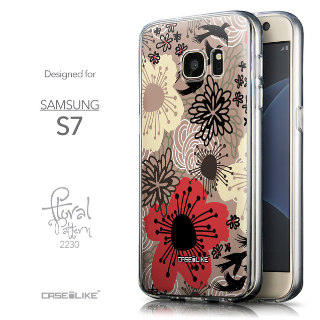 Front & Side View - CASEiLIKE Samsung Galaxy S7 back cover Japanese Floral 2254