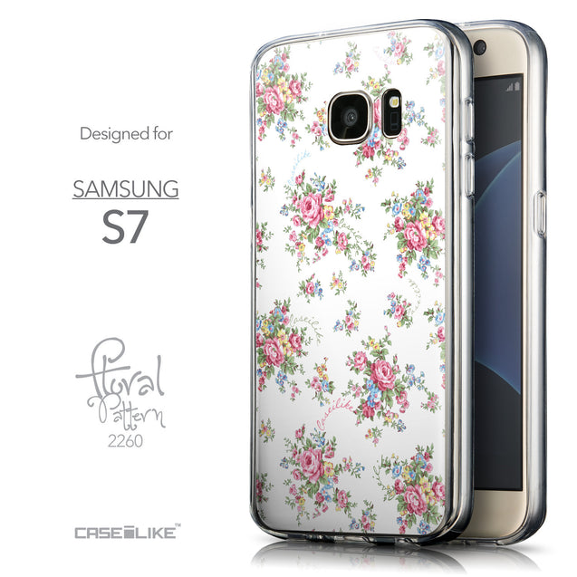Front & Side View - CASEiLIKE Samsung Galaxy S7 back cover Floral Rose Classic 2260