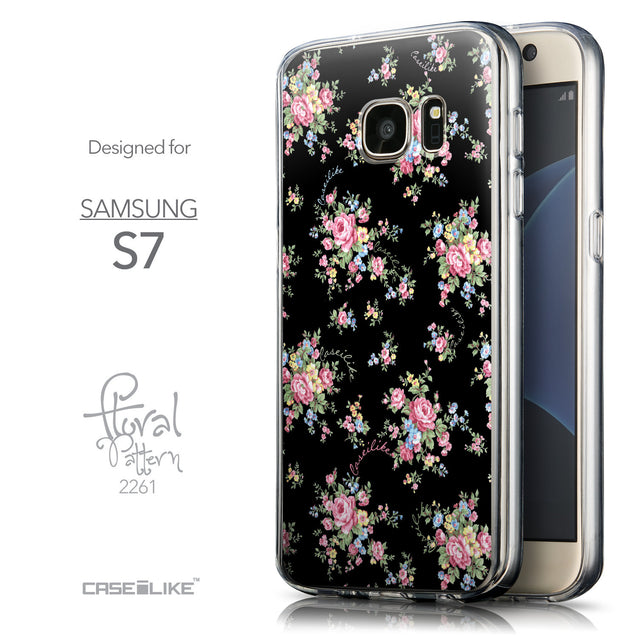 Front & Side View - CASEiLIKE Samsung Galaxy S7 back cover Floral Rose Classic 2261