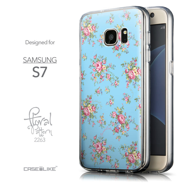 Front & Side View - CASEiLIKE Samsung Galaxy S7 back cover Floral Rose Classic 2263