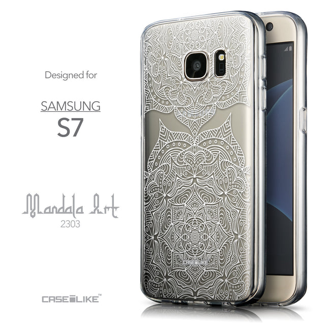 Front & Side View - CASEiLIKE Samsung Galaxy S7 back cover Mandala Art 2303