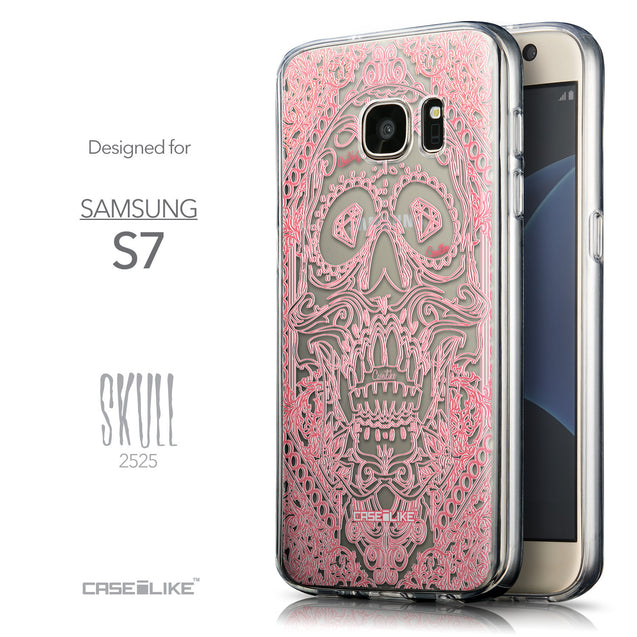 Front & Side View - CASEiLIKE Samsung Galaxy S7 back cover Art of Skull 2525